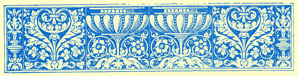stylized border engraving of vases and interlacing vines