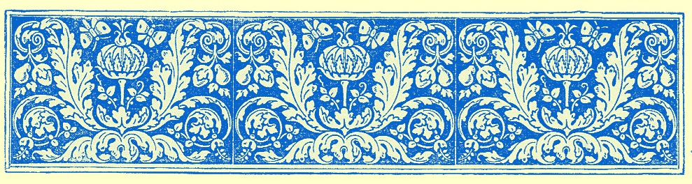 stylized border engraving of flowers and interlacing vines