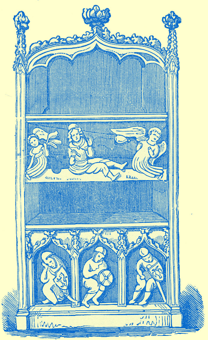 An engraving of a three dimensional cabinet with two shelves and two front pieces below the shelves themselves with carvings.  The bottom one with three nights and the top with three angels as described in the text.