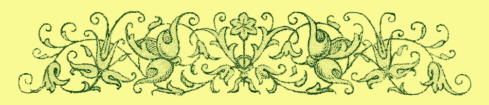 stylized border print of flowers and interlacing vines