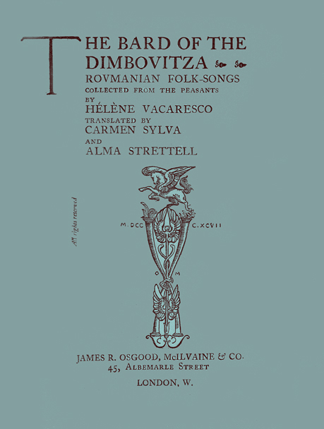 Title Page to the Bard of the Dimbovitza, with the printer's logo of a unicorn on top of an ornate column composed of two intertwined pipes