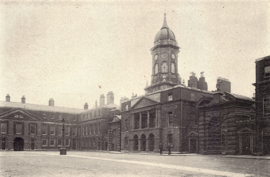 Black and white photograph of Dublin Castle, Ireland, taken in the late 19th century.