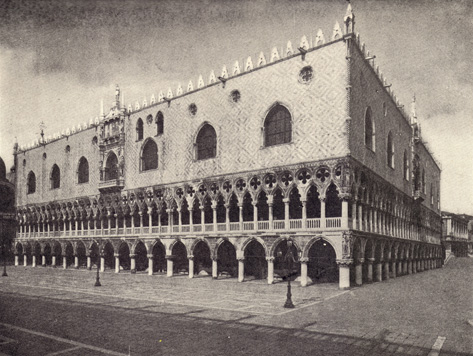 Black and white photograph of The Ducal Palace, in Venice, Italy, taken in the late 19th century