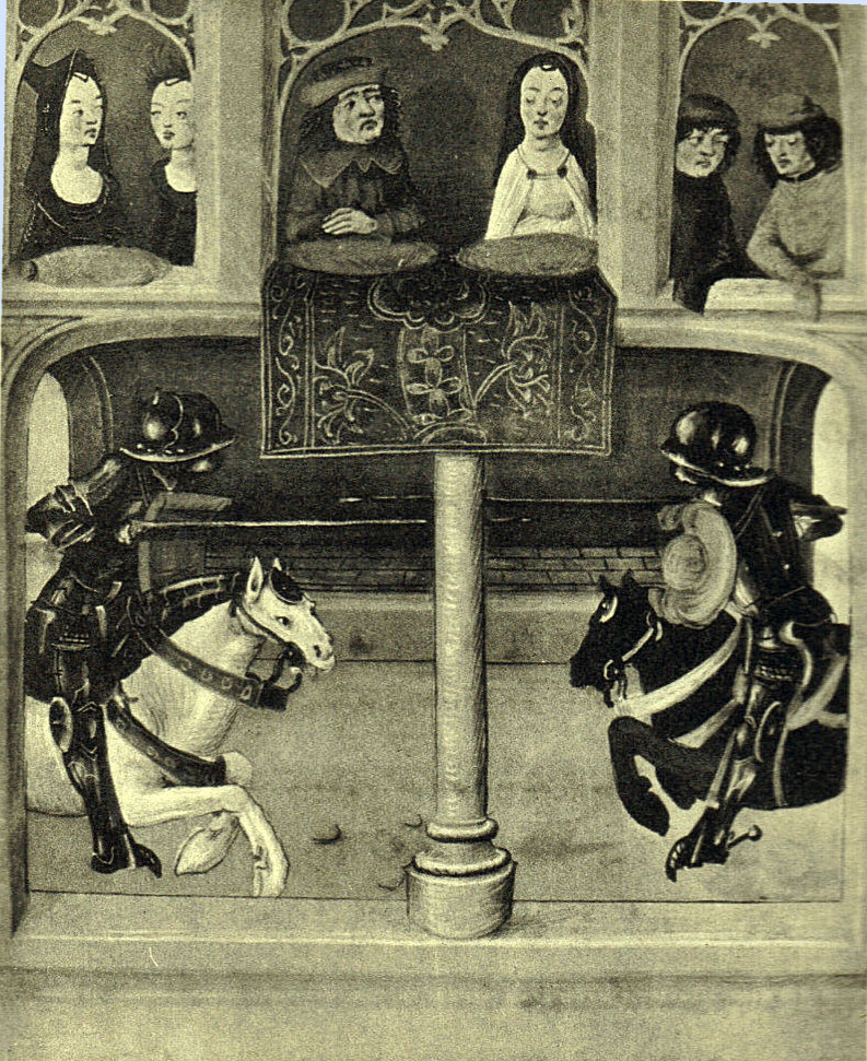 Black and White picture of a manuscript illumination, a balcony with a lady in white and five other people watching two knights in black armour joust, one on a white horse and one a black horse.  Their helmets are round.