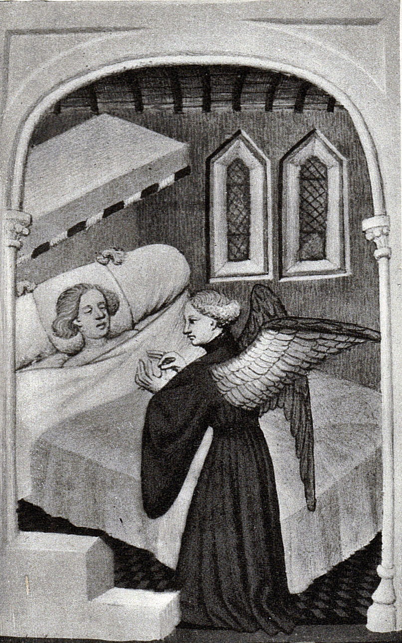Black and White picture of a manuscript illumination, a young man asleep in a bed with canopy, with a male winged angel in a long black robe at his bedside.