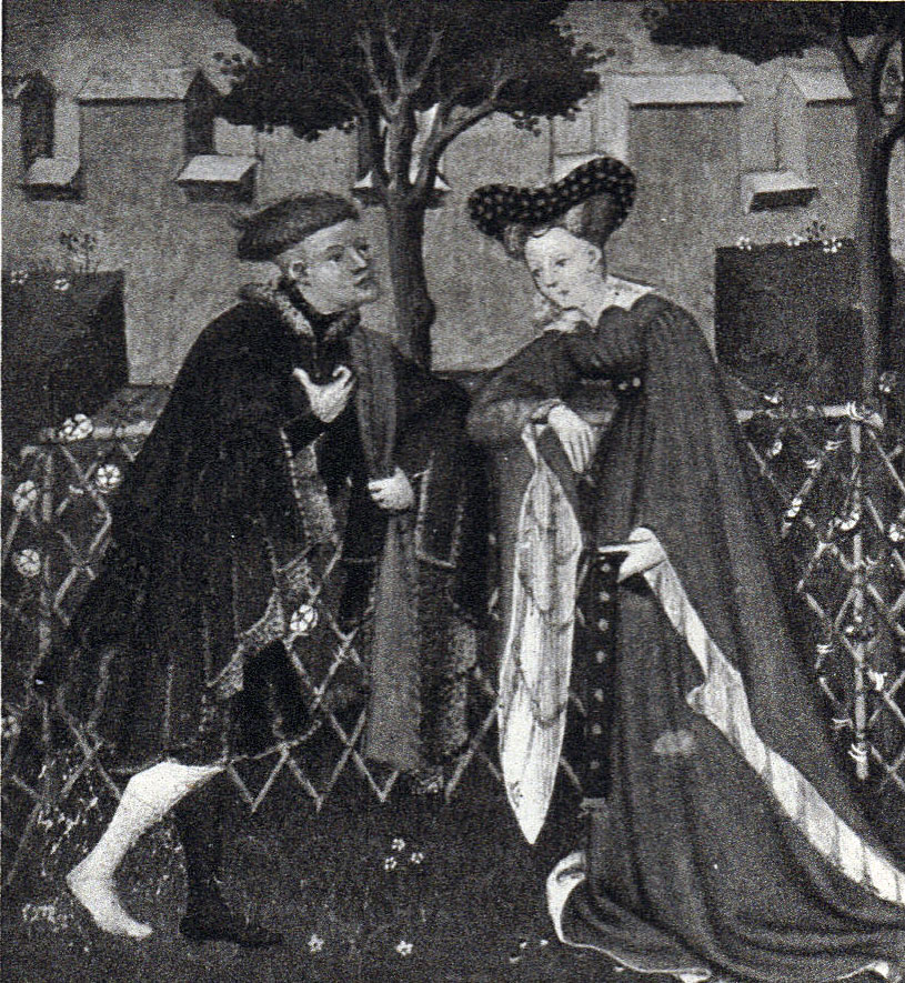 Black and White picture of a manuscript illumination, a man facing a woman both in medieval dress, with a fence, trees and crenellated wall in the background.