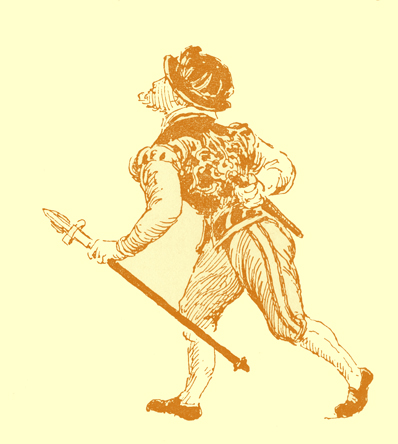Black and white illustration, by Moyr Smith, of a walking man, carrying a lance or walking stick, and with a knife or short sword behind his back.