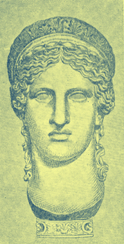Black and white engraving of the bust of Hera from the Villa Ludovisi.