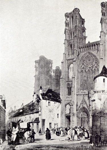 Black and white drawing by T. S. Boys, of The Cathedral of Laon.  Smaller buildings and people on the street can be seen in the foreground.  Built in the 12th and 13th centuries.