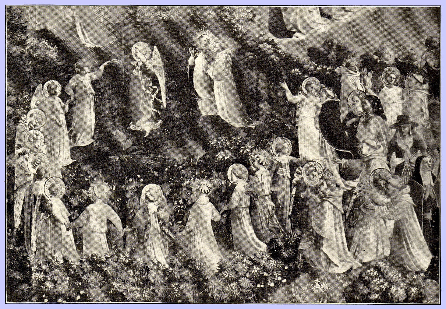 The Last Judgment by Fra Angelico, black and white picture with many figures, including angels holding hands in a flowery meadow holding hands, and some hugging each other, all with halos or wreathes of flowers on their heads