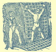 Black and white engraving of a man with bare upper torso tied to a grating, with a sailor to the side holding a whip.