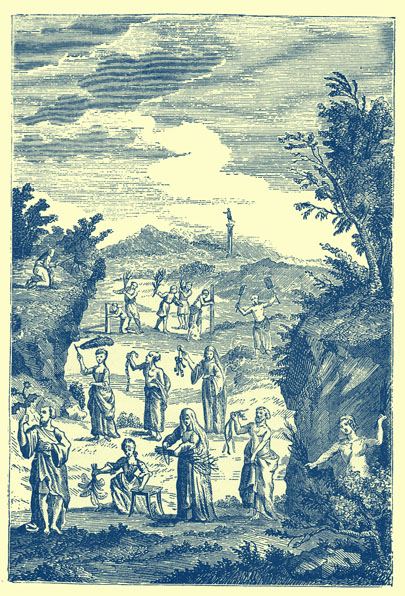 Black and white engraving of desert landscape with several figures scattered throughout, holding whips, and ropes, and brooms.  The men wear togas and some of the women appear to be in the dresses of the 1700's!