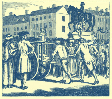 Black and white engraving of a  Stroud walking tied behind a cart, with a man in long coat following and whipping him.  Of course, many bystanders look on.  Buildings can be seen in the background.