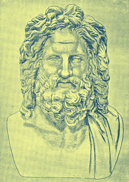 Black and white engraving of the Otricoli bust of Zeus.