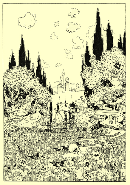 Black and white pen and ink drawing by A. Payne Garnett, of field of poppies. Above it the sky is filled with floating ghosts, skulls, and two pretty woman.  There are trees and a castle with minarets in the background.