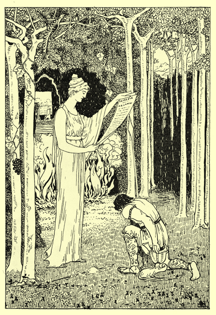 Black and white pen and ink drawing by A. Payne Garnett, of Calypso, in a long sleeveless gown, standing in a glade, reading a scroll, with a man in a short tunic and greaves kneeling before her, with head bowed.