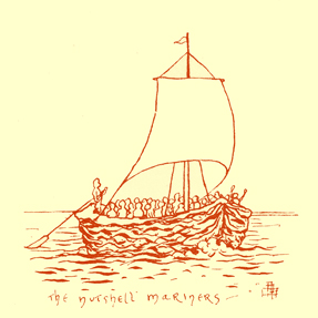 Black and white pen and ink drawing by A. Payne Garnett, of ship made of half a nutshell, with a mast, and crew.  It is titled 'The nutshell mariners'.